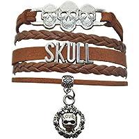 HHHbeauty Sugar Skull Bracelet - Womens Mens Skull Charm Bracelet for Women,Men,Girls,Boys