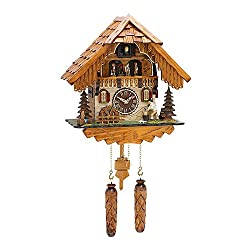 Trenkle Quartz Cuckoo Clock Black Forest house with moving wood chopper and mill wheel, with music TU 498 QMT HZZG