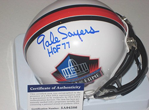 Autographed Gale Sayers Mini Helmet - HALL OF FAME w COA & HOF - PSA/DNA Certified - Autographed NFL Mini Helmets