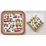 Meri Meri Big Rig - Construction - Party Pack - Boys Birthday Party - 12 Plates 16 Napkins