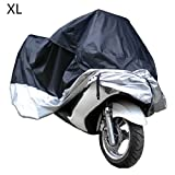 Docooler Motorcycle Bike Moped Scooter Cover Waterproof Rain UV Dust Prevention Dustproof Covering (XL)(Black-Silver)