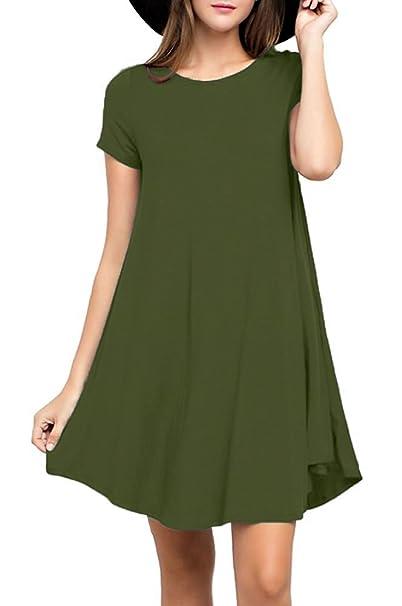 cdf2d1b81f31 Viishow Women's Swing Dress Casual Loose T-Shirt Dress (XS, Army Green)