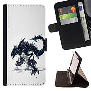 For Sony Xperia Z1 Compact D5503 Dragon Monster Beautiful Print Wallet Leather Case Cover With Credit Card Slots And Stand Function