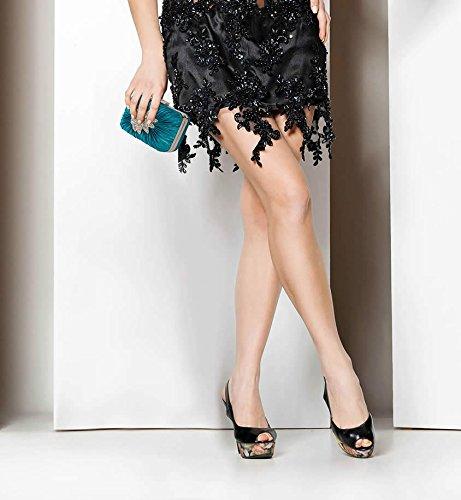 ANNA GRACE - Cartera de mano de Satén para mujer Design 1 - Teal