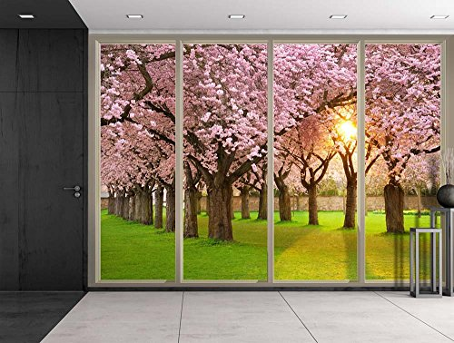 Sun Shining Through Rows of Pink Cherry Blossom Trees Viewed From Sliding Door Creative Wall Mural Peel and Stick Wallpaper