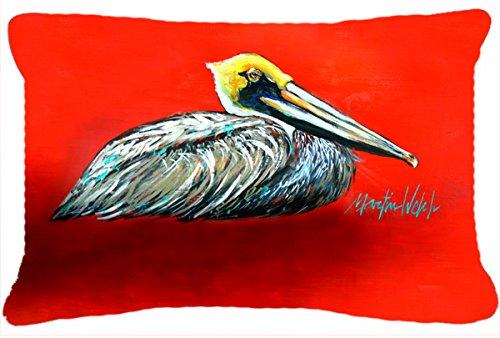 Caroline s Treasures MW1232PW1216 Sitting Brown Pelican Fabric Decorative Pillow, 12 x 16 , Multicolor