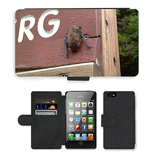 Just Phone Cases PU Leather Flip Custodia Protettiva Case Cover per // M00127616 Bat Nature animaux naturel // Apple iPhone 4 4S 4G