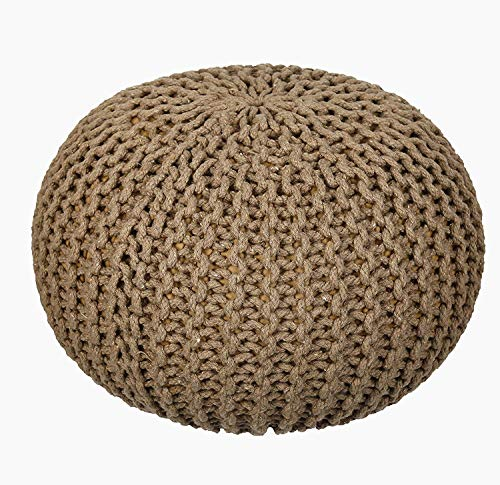 AZK Ottoman Poufs for Living Room - Hand Knitted Cable Style Dori Pouf - Floor Ottoman - 100% Cotton Braid Cord - Handmade & Hand Stitched - Truly one of a Kind Seating 18 x 18 x 13