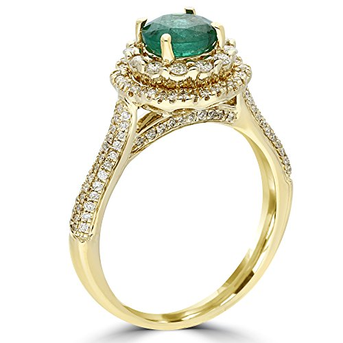 Halo Emerald Engagement Ring 1 1/2 CT. TW 14K Yellow Gold with 0.50 Carat Round Diamond As Side Stone Ct Tw Diamond Emerald Ring