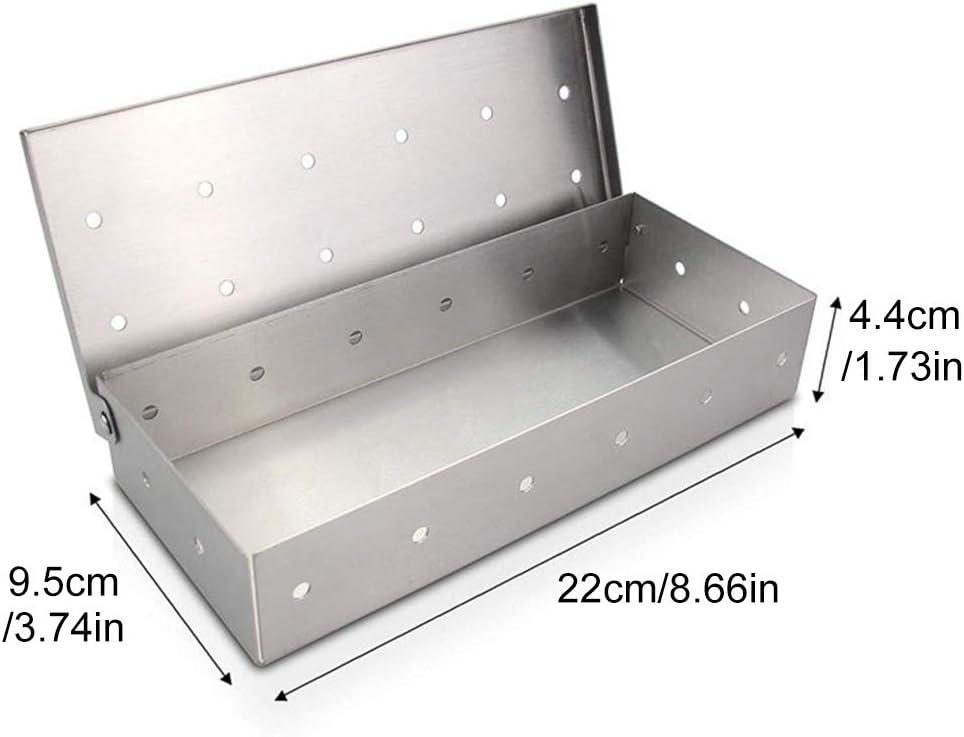 JPYH BBQ Affumicatore in Acciaio Inox Smoker Box Aroma Box Accessori per Barbecue a Gas Barbecue a Carbonella Adatto per Allaperto Pancetta