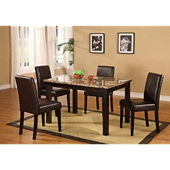 Amazon.Com - Poundex Marble Dining Table, 4 Counter Height Chairs