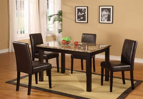 Roundhill Furniture Briden Dark Artificial Marble Top Dinette Dining ()