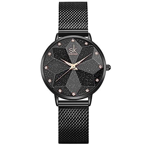 (Creative Design Starry Star Women Watch with Genuine Leather Stainless Steel Mesh Band (Starry-MESH Band-Black))
