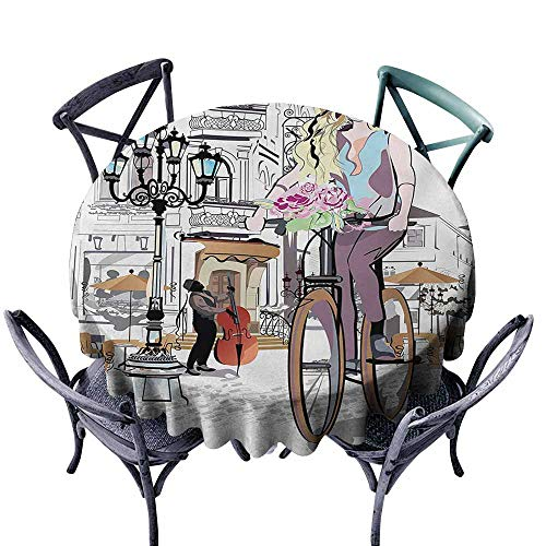 VIVIDX Round Tablecloth,Paris,Young Girl with Bike and Roses in a Street Old Town Musician Romantic Tour in City,for Banquet Decoration Dining Table Cover,43 INCH,Multicolor