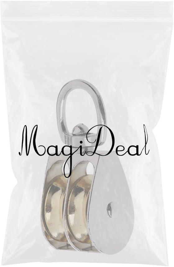 MagiDeal Doppelten Flaschenzug Seilrolle doppelte Riemenscheibe Roller Umlenkrolle mit Wirbel drehbar