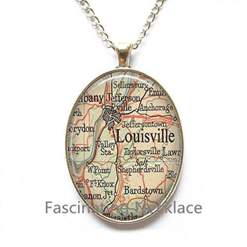 Charming Necklace,Louisville, Kentucky map Pendant, Louisville map Necklace, Louisville map jewelry resin Pendant,AO149 (Halloween City Lexington Ky)