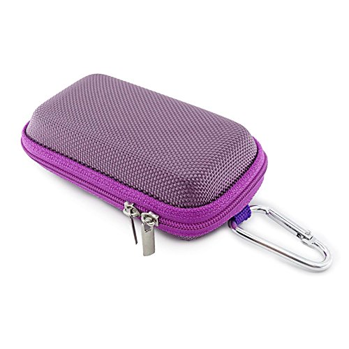 JHGJ Headphone Case with Carabiner, Earbud Carrying Case, Mini Storage Suit for Wireless Bluetooth Headset, Purple, by