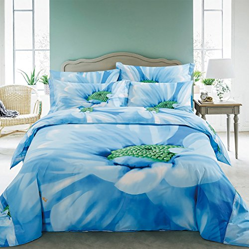 DM511Q Dolce Mela Floral Bedding - Azure, Luxury Queen size Duvet Cover Set
