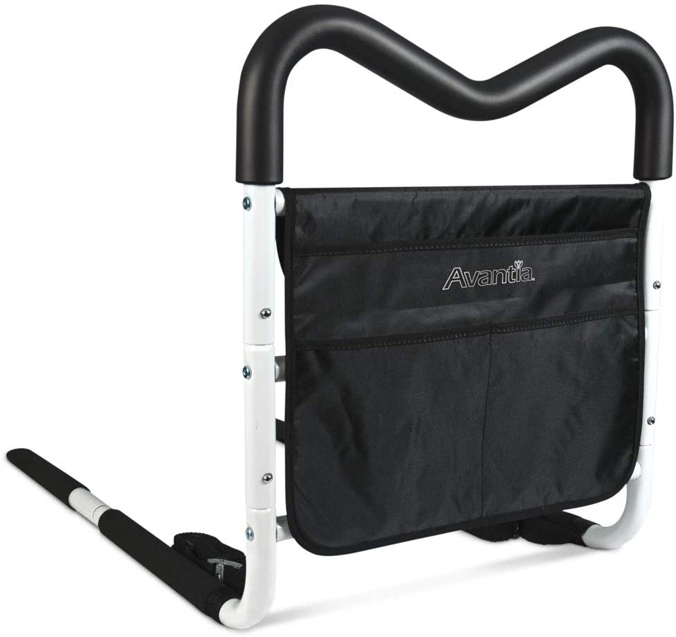 Avantia M-Safe Height Adjustable Home Bed Rail Assist Bar, with Multiple Grip Positions and Storage Pouch