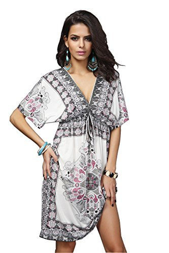 Wander Agio Womens Lace Short Sleeves Princess Dress Printing Beach Cover-up White,One Size