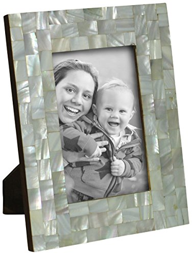 SouvNear 4x6 Photo Frame - Handmade Picture Photo Frame for Horizontal / Vertical Pictures - Diamond-Shaped Mother of Pearl Motif Chips - Home / Office - Frame Shaped Diamond