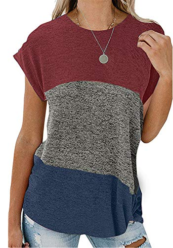 Poulax Women's Color Block Casual T Shirts Loose Twist Knot Tunics Tops,L,New Wine (Color Block Tunic)