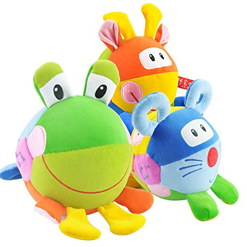 TOP BRIGHT Kids Three-sided Dolls Cattle Frogs Music Education Cloth Toys for More 6 Months