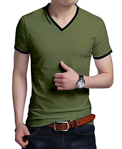 (JNC Men's Summer V-Neck Casual Slim Fit Short Sleeve T-Shirts Cotton Shirts (Large, Army)