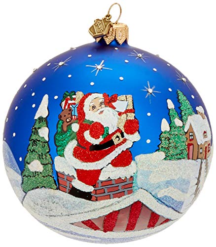 Reed & Barton Ornaments Classic Christmas Rooftop Santa Ball Ornament