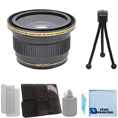 Elite Series 0.38x Ultra Super High Definition Panoramic Fisheye Lens - 46/49/52/58MM with Deluxe Lens Accessories Kit for Nikon D3000 D3100 D3200 D3300 D5000 D5100 D5200 D5500 D7000 D7100 D7200 D600 D610 D700 D800 D90 DSLR by eCost