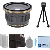 Elite Series 0.38x Ultra Super High Definition Panoramic Fisheye Lens - 52/58MM with Deluxe Lens Accessories Kit for Canon T1i T2i T3 T3i T4i T5i SL1 30D 40D 50D 60D 5D 1D Mark 2 DSLR