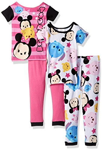 Disney Girls' Little Girls' Tsum Tsum 4-Piece Cotton Pajama Set, Pink, 6 - Long Girls Pajamas