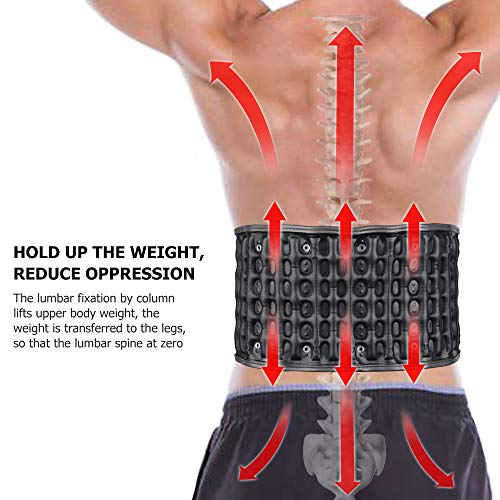 HailiCare Physio Decompression Back Belt Back Brace Back Pain Lower Lumbar Support Back Massage, one Size for 29inches to 49 inches Waists (Black) by HailiCare (Image #3)