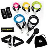 Sweet Sweat Resistance Training Bands (5, 10, 15, 20 & 25 lbs) ~ Includes Free Sweet Sweat Sample and Carrying Bag ~ 75lbs of Total Resistance!