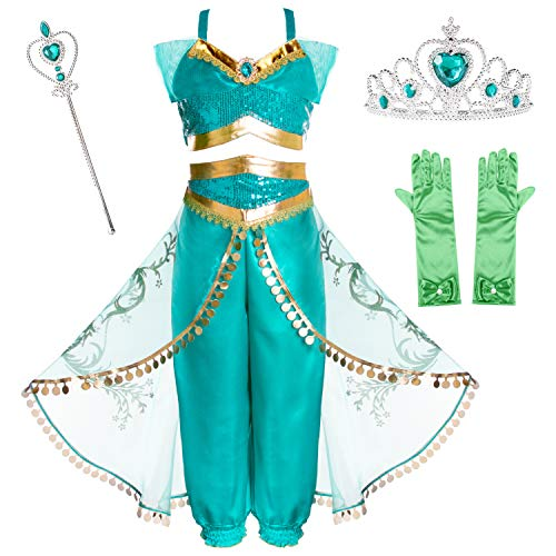 Joy Join Princess Jasmine Costume Outfit for Toddle Girls Birthday Halloween Party with Crown,Wand,Gloves Accessories Size 7 -