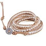 KELITCH Unique Natural Pearl Beaded 5 Wrap Bracelet Top Women Beach Strand Bracelet Gifts
