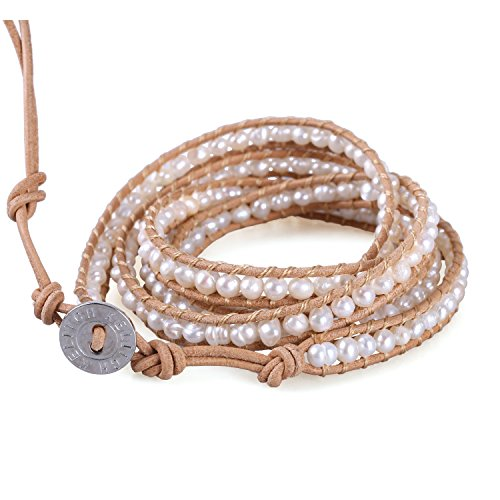 KELITCH Unique Natural Pearl Beaded 5 Wrap Bracelet Top Women Beach Strand Bracelet Gifts (Pearl Beaded Wrap Bracelet)