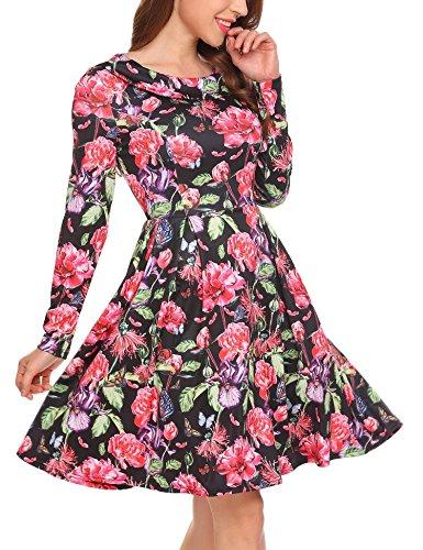 SE MIU Women's Vintage Scoop Neck Midi Dress Long Sleeve A-Line Flare Floral wih Cocktail Party Tank - Chart Size Miu Miu