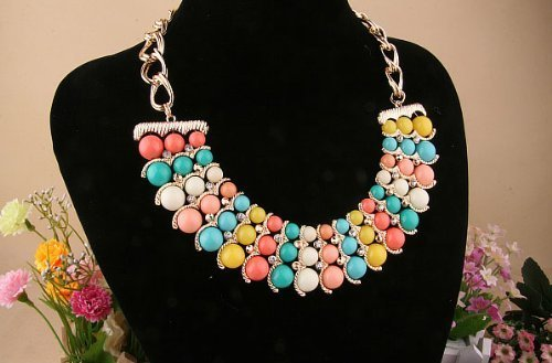 (Colorful Simulated Pearls Bib Necklace,Colorful Cascading Beads Collar Choker Necklace)