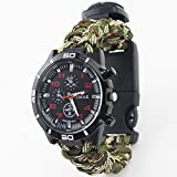 Glumes Survival Bracelet Watch, Survival Paracord Bracelet, Survival Gear Kit Emergency Knife,SOS LED Light, Whistle, Compass, Fire Starter for Camping, Climbing, Waterproof Gift for Boys
