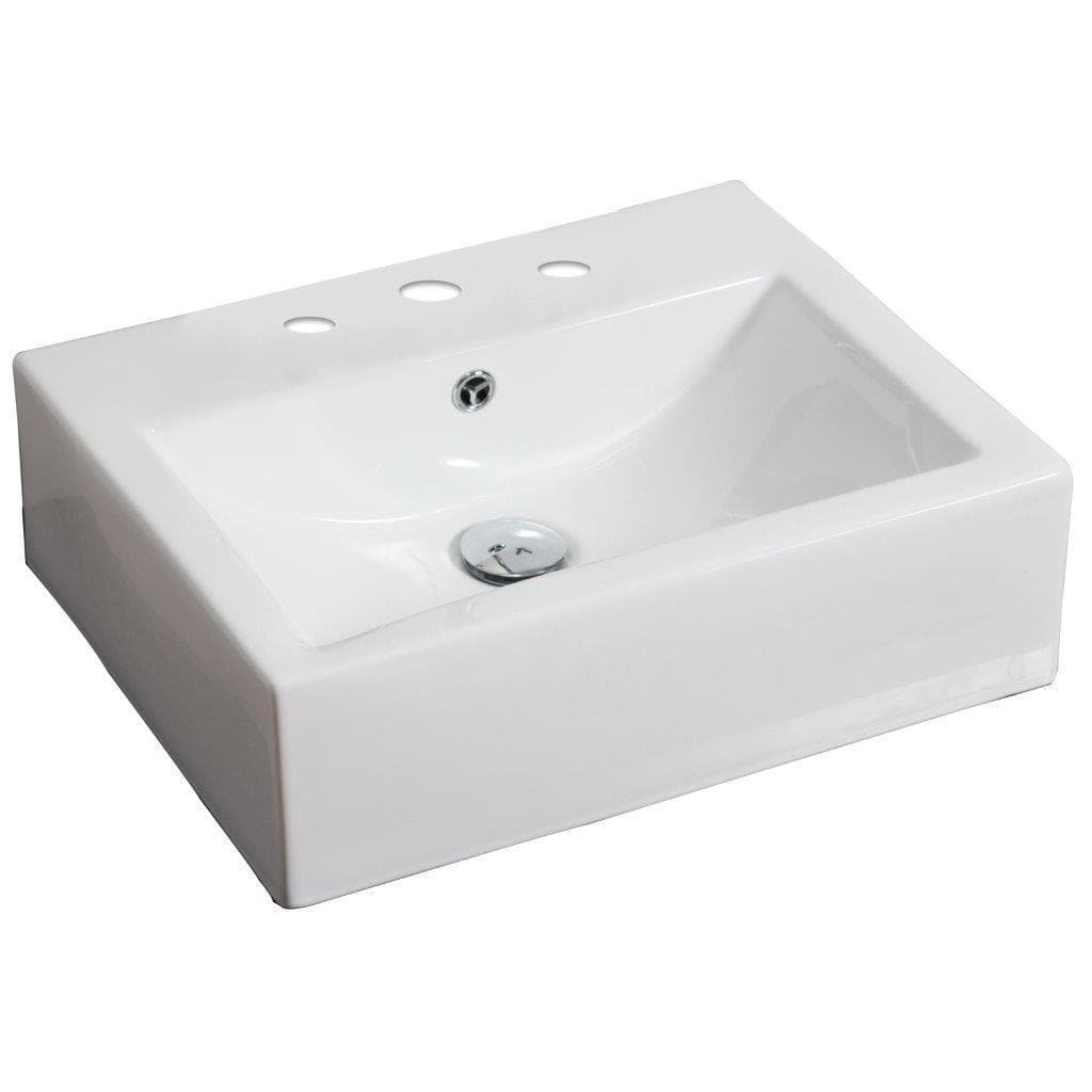 American Imaginations Rectangle Shape Vessel, Comes with an Enamel Glaze Finish in White Color and Designed for an 8-In. O.C. Faucet