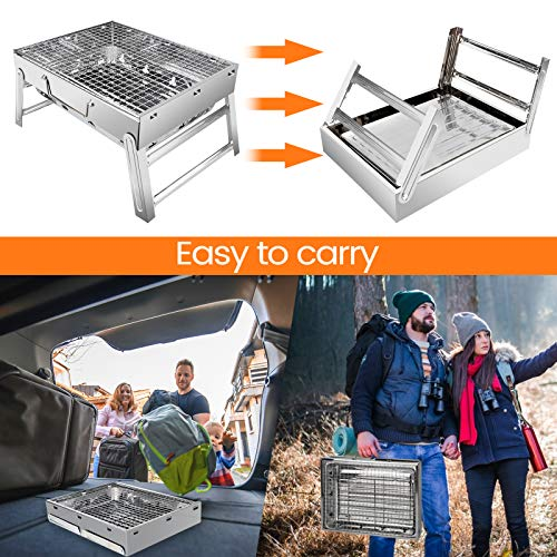 UTTORA Folded Charcoal BBQ Grill Set, Stainless Steel Portable Folding Charcoal Barbecue Grill, Barbecue Tool Kits for Outdoor Picnic Patio Backyard Camping Cooking