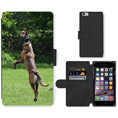 "Just Phone Cases PU Leather Flip Custodia Protettiva Case Cover per // M00128492 Malinois Dog Jump Ball Run Throw // Apple iPhone 6 PLUS 5.5"""