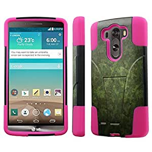 [NakedShield] LG G3 [Military Camouflage] Armor Tough Shock Proof KickStand Black/Hot Pink Phone Case
