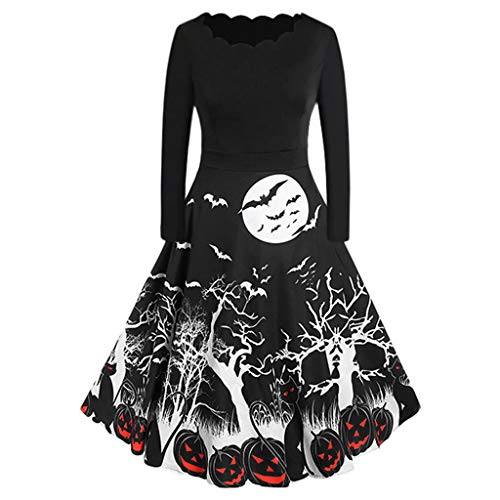 Hunauoo Bodycon Swing Dress Women Vintage Halloween Long Sleeve Loose Evening Party Prom Dress Black