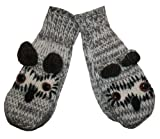 76 MT Agan Traders Wool Fleece Lined Ski Animal (Mitten - Owl Grey New)