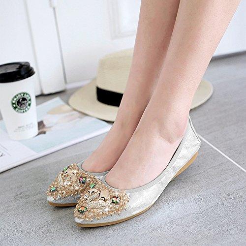 Meeshine Flats Pointed Foldable Slip Shoes Ballet Rhinestone Sliver Flat On Womens Comfort Toe rnwYCarq