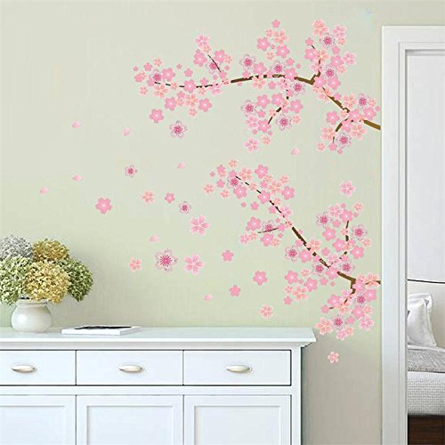 JEWH Pink Flower Branch Tree Cherry Blossoms Home Decoration Wall Stickers Living Room Bedroom Family Modern Wall Decal (Blossom Beaded)