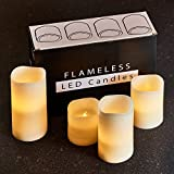 """Hayley Cherie - Textured Real Wax Flameless Candles with Timer (Set of 4) - LED Candles 3"""", 4"""", 5"""", 6"""" tall - Flickering Amber Flame - Battery Operated Pillar Candles – Large Unscented"""