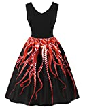 Killreal Women's V-Neck Sleeveless Unique 3D Digital Octopus Tentacle Print Dress Black XX-Large